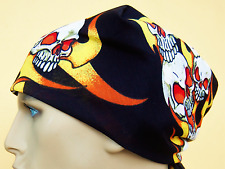 Bandana Headband Skull & Flame Pirate 100 Cotton. Scarf. UK SELLER