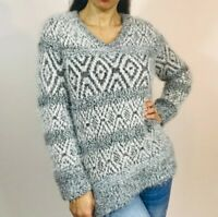Women's Style&co. Shaggy Oversized Gray and White Sweater Size L