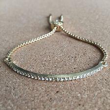 Gold Tone Crystal Pave Bar Slider Bracelet Adjustable Drawstring Tightening