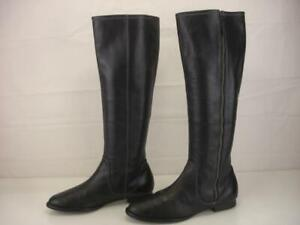 Women's 7 7.5 37.5 Eli Tahari Kyle Side Zip Knee High Black Leather Riding Boots