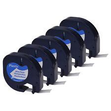 5 Pack Black on White Plastic Label Tape 12mm for DYMO Letra Tag LT 91331 LT100H