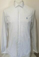 Ralph Lauren Mens M Slim Fit Long Sleeve Check Shirt White