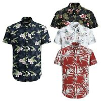 Jack & Jones Mens Floral Printed Summer Beach Short Sleeved Slim Fit Shirts