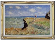 Framed Hand Painted Oil Painting Claude Monet Cliff Walk Pourville Repro 24x36in