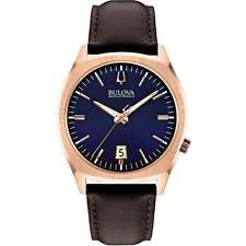 Bulova 97B133 Men's Accutron II Collection Brown Strap Blue Dial Date UK Seller