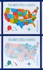 UNITED STATES MAP fabric panel COLORFUL MAPS FABRICS US MAP BTP NEW