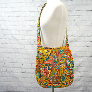 ❤️ VERA BRADLEY Provencal Mailbag Saddle Crossbody Yellow Fall Floral Paisley