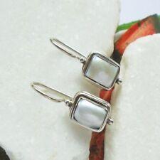 Perle, weiß, eckig, modern, edel, Ohrringe, Ohrhänger, 925 Sterling Silber neu