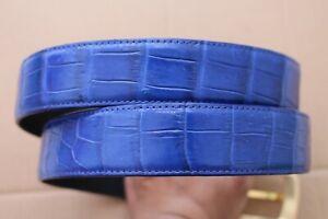 Light Blue Genuine Crocodile Belly Leather Skin Men's Belt Handmade