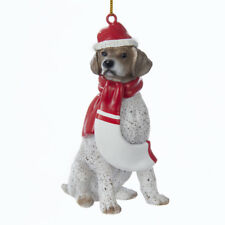German Shorthair Pointer w/Santa Hat & Scarf Ornament