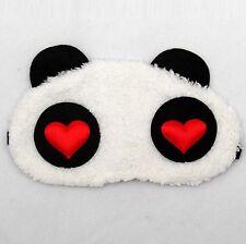 Masque de sommeil nuit repos peluche tête de panda blanche yeux coeurs original