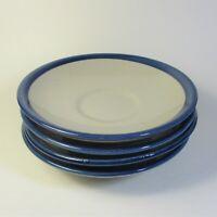 "Louisville Stoneware 6 3/8"" Saucers Set of 4 Blue Trim Pottery Saucer USA"