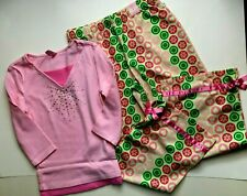 NWT Limited Too 2 PC Outfit Solid Pink PJ Top 7 Green Long Pajama Pants Set 7