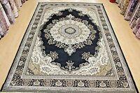 Traditional Design Rug Black Silk Like Machine Washable Living Room Carpet Rug