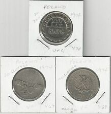 xx From Accumulation - 3 DIFFERENT 20 ZLOTY COINS..POLAND..ALL 1974..3 TYPES