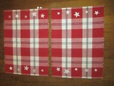 Red White Checked Stars Rectangle Placemats July 4th Patriotic Set of Two