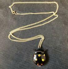 """Lucerne Black & Gold Ladybug Necklace Pendant Watch Manual Wind Working 30"""" Vtg"""