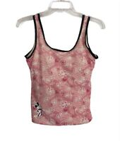 Disney Womens Swim Size 6 Pink Floral Minnie Mouse Tank Padded Only Top Stretch