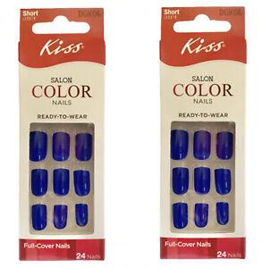 Kiss SALON COLOR Short Length Glue On Shiny Royal Blue Nails Set of 2 Ships Fast