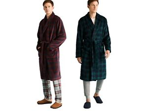MENS EX MARKS & SPENCER CHECKED DRESSING GOWNS 2 COLOURS M-XXL M&S ROBE