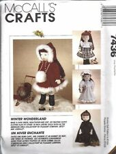 "UNCUT Vintage McCalls Sewing Pattern 18"" Doll Clothes 7436 Emma Winter Wardrobe"