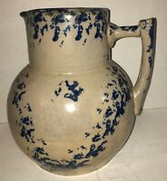Antique BLUE & WHITE SPONGEWARE PITCHER STONEWARE SPATTERWARE UHL POTTERY