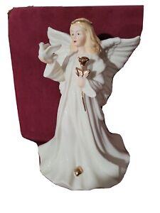 Sympathy Angel Revolving Music Box - Porcelain Angel Figurine Holding a Dove ...