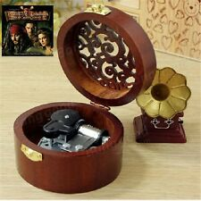 {Pirates of Caribbean - He's A Pirate} CIRCLE WOODEN CARVING MUSIC BOX