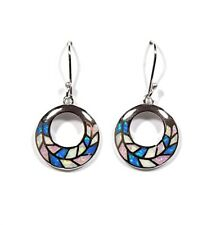 Blue, White & Pink Fire Opal Inlay Solid 925 Sterling Silver Dangle Earrings