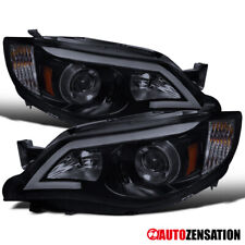 For 2008-2011 Subaru Impreza WRX LED Bar Glossy Black Smoke Projector Headlights