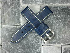 BIG CROCO 24mm LEATHER STRAP Blue Watch Band Super Avenger White Stitch 24 x1
