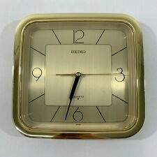 Vintage Seiko Mid Century Modern Quartz Gold Wall Clock Made In Japan, Tested