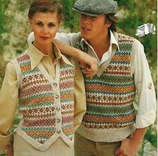"1753 Ladies Mens DK Argyle Slipover & Waistcoat 32-42"" Vintage Knitting Pattern"