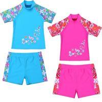 2PCS Girl Boys Rash Guard Swimsuit Tankini UV Sun Protection Floral Bathing Suit
