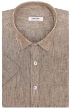 100% Cotton Linen Men's Half Size Short Sleeve Casual Formal Shirt Size 38 To 44