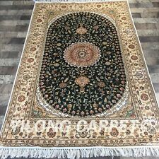 YILONG 4'x6' Handwoven Silk Carpet Green Interior Home Decor Area Rug Y411C