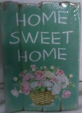 CUADRO MADERA ROSA HOME SWEET 30x20cm Cottage Vintage brocante ROSES