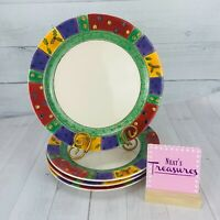Sango Sue Zipkin SWEET SHOPPE CHRISTMAS 3041 Motif Rim Dinner Plates Set Four
