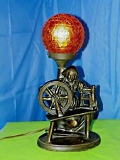 BRASS FRENCH SPINNING WHEEL TABLE LAMP WITH CRACKLED GLASS AMBER GLOBE- ORIGINAL