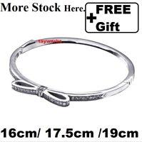 925 Sterling Silver Sparkling Bow Clear CZ European Bangle Bracelet 16/17.5/19cm