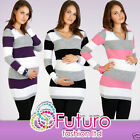 Maternity Jumper V-Neck Striped Warm Cardigan Knitted Dress Tunic FR01