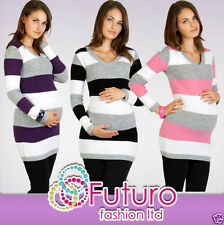 Maternity Jumper V-Neck Striped Warm Cardigan Knitted Dress Tunic FR01