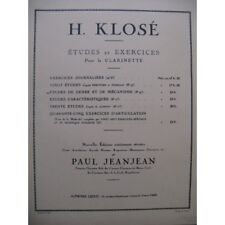 KLOSÉ H. Etudes de Genre et de Mécanisme Clarinette 1949 partition sheet music s