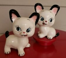 Vintage Japan Big Ear Kitty Cats Salt Pepper Shaker Wire Whiskers