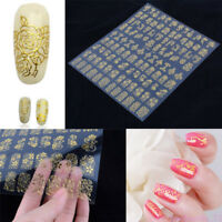 108 Tips Gold Silver 3D Nail Art Stickers Flower Nail Decal Manicure DIY Decor