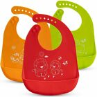 Baby Bibs – 3-Pack Silicone Weaning Bibs – Machine Washable Silicone Bibs for...