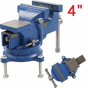 """4"""" 100mm Work Bench Vice Vise Workshop Clamp Engineer Jaw Swivel Base Heavy Duty"""