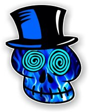 VOODOO SKULL Design With Electric Blue Flames car vinyl sticker decal 110x85mm