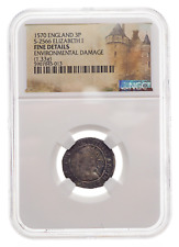 ENGLAND. Elizabeth I. 1558-1603. Silver Threepence, Dated 1570, NGC Fine Details