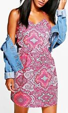NWT Boohoo Pink Nina Paisley Cut Out Side Key hole Sundress Dress  UK 6 XS US 2